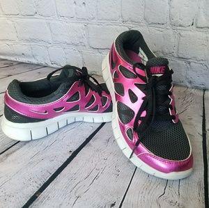 NIKE FREE RUN + 2 Metallic Pink & Black Women's 9
